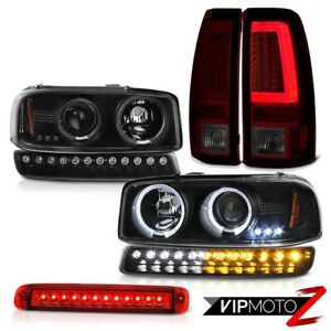 99 06 Gmc Sierra Tail Lights Red 3rd Brake Light Signal Headlights Neon Tube Led