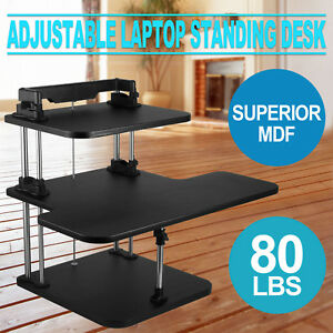 3 Tier Adjustable Computer Standing Desk Mobile Double Poles Height Adjustable