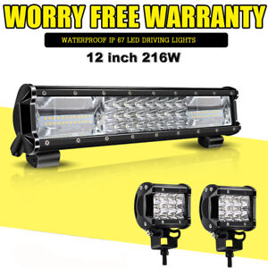 12 inch 7d Tri row 216w Flood Spot Combo Led Light Bar Off Road Bumper Jeep Kit