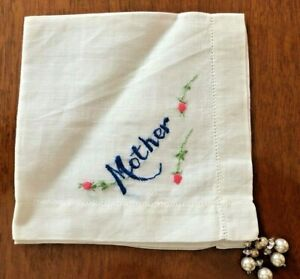 Antique Vintage Mother S Day Mother Handkerchief White Linen W Embroidery Beads