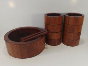 Vtg Dansk Staved Teak Wood Salad Serving Bowl Set Danish Mid Century Modern