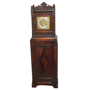 Antique German Grandmother Lenzkirch Floor Clock Carved Oak Victorian Cherub