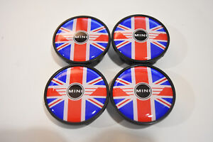 4 X Red Blue Union Jack Uk British Flag Wheel Rim Center Hub Cap Mini Cooper