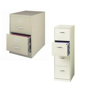 value Pack 2 Drawer And 4 Drawer File Cabinet In White And Putty