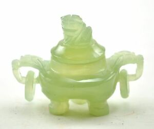 Vintage Green Serpentine Jade Incense Burner Pot 3 Miniature Foo Dog With Ring