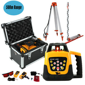 Self leveling Green Beam Laser Level Rotating Remote Control Tripod Staff Case