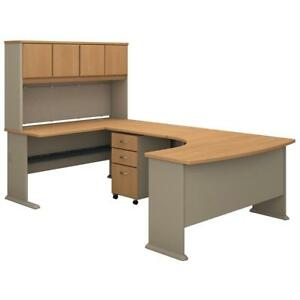 Series A 60w Left Handed U Shaped Desk With Hutch And Mobile File Cabinet