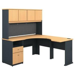 Series A 60w X 65d L Shaped Desk With Hutch And 2 Drawer Pedestal