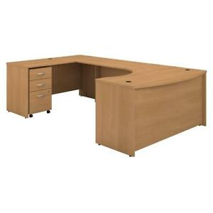 Series C 60w Left Handed Bow Front U Shaped Desk With Mobile File Cabinet