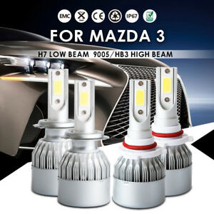 Front H7 9005 Hb3 Led Headlight Conversion Kit Power Bulbs Fit Mazda 3 2006 2004