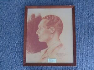 Rare Original Wwii German Portrait Drawing Of Florida Senator Edward J Gurney