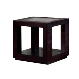 Accent Table Cappuccino Veneer With Glass Insert