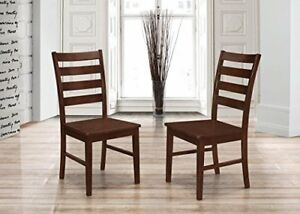 We Furniture Ladder Back Dining Chairs Set Of 2 Walnut