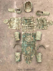 Folk Chinese Old One Set Bronze A War Helmet And Armor Royal Warrior Protecd