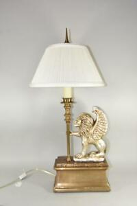 Chapman Winged Lion Table Lamp 1988 Two Sockets Silver Gold Wash