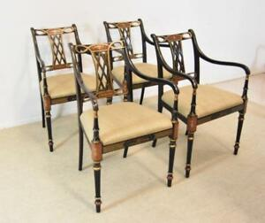 Four Beaufort Traditional Arm Chairs By Southwood Furniture Co Hand Painted