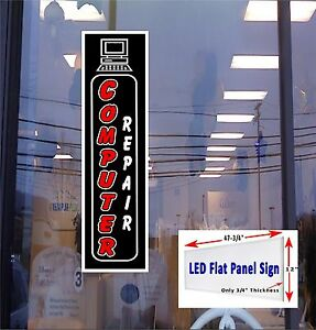 Computer Repair Led 48x12 Vertical Flat Panel Led Light Box Window Sign