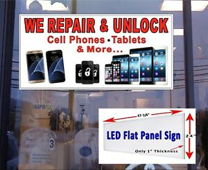 We Repair Unlock Cell Phones Tablets And More Led Window Sign 48x24
