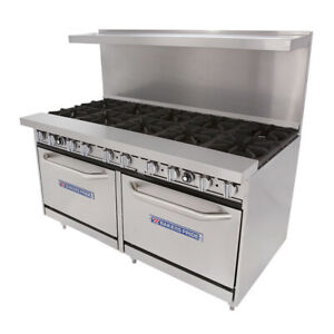 Bakers Pride 60 bp 10b s26 Gas Restaurant Range 10 Burners And 2 Standard Ovens