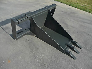 Bobcat Skid Steer Attachment Stump Bucket Dig Spade With Teeth Free Shipping