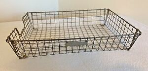 Vintage Metal Wire Paper Basket Desk Holder Bar Bee Mcm Industrial Style Drawer
