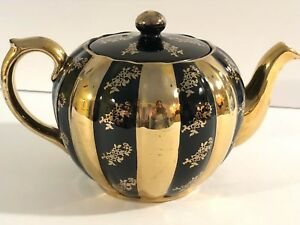 Vintage Gibsons English Teapot Black And Gold Striped Floral Htf Stunning