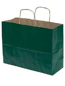 Paper Shopping Bags 100 Hunter Green 16 X 6 X 12 Retail Merchandise Gift