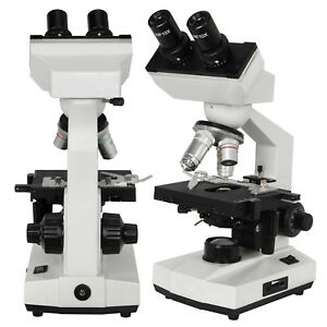 All metal Compound Binocular Biological Microscope Stage Led Adjustable Lab