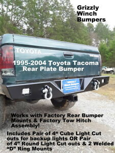Grizzly Custom Toyota Tacoma 1995 2004 Rear Plate Bumper Off Road D Ring Mounts