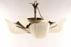 Antique Slip Shade Light Fixture Five Frosted Glass Shades