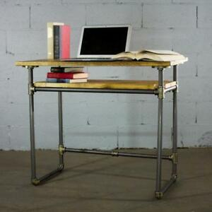 Pdsk bb Industrial Vintage Home Office Pipe Desk With Lower Shelf Metal