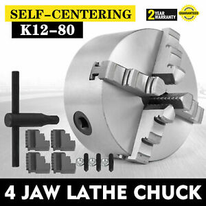 Lathe Chuck K12 80 80mm 3 4 jaw Reversible External Jaw Cast Iron Wood Turning