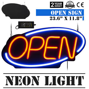 Horizontal 23 6 x11 8 Neon Open Sign 60w Led Light Window 60x30cm Restaurant