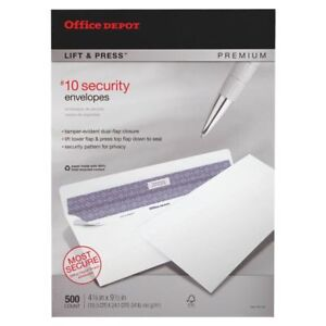 Office Depot Brand Lift Press Premium Security Envelopes 10 4 1 8 X 9 1