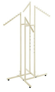 Clothes Rack Slant Arm Four Way 4 Adjustable Clothing Retail Display Ivory White