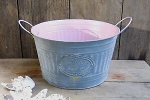Vintage Farmhouse Garden Rustic Florist Galvanized Metal Bucket Planter Basket