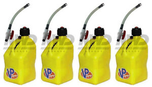 4 Pack Vp Racing Yellow 5 Gallon Square Fuel Jug 4 Shut Off Hoses water gas Can