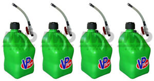 4 Pack Vp Racing Green 5 Gallon Square Fuel Jug 4 Shut Off Hoses water gas Can