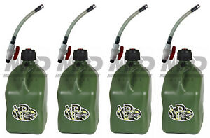 4 Pack Vp Racing Camo 5 Gallon Square Fuel Jug 4 Shut Off Hoses water gas Can