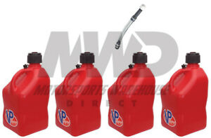 4 Pack Vp Racing Red 5 Gallon Square Fuel Jugs 1 Deluxe Hose water gas Can