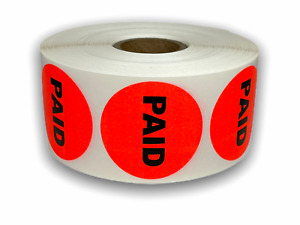 Br red 1 5 Circle Paid Labels Sale Retail Grocery Deli Price 10 Rolls 1000 rl