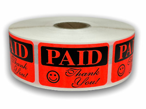 Paid Thank You 1 1 4 x2 Labels Retail Grocery Deli Price 10 Rolls 1000 rl