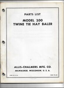 Original Oem Allis Chalmers Model 200 Twine Tie Baler Parts List Catalog Tpl 482