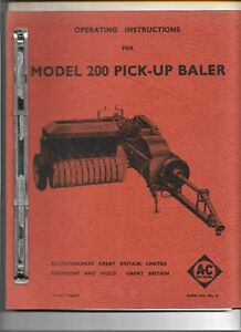 Original Oe Oem Allis Chalmers Model 200 Pick up Baler Operators Manual Bpl 18
