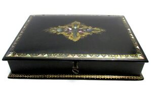 Antique Victorian Jewelry Box Black Lacquer Mother Of Pearl Inlays