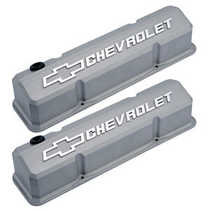 Gm 141 925 Chevrolet Bowtie Slant Valve Covers Chevy Small Block Cast Gray