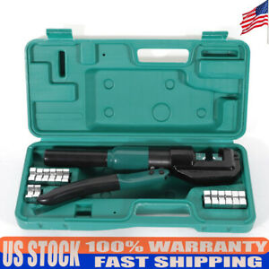 New 10t Hydraulic Wire Crimper set Dies 12mm Stroke Adjustable Rotatable Head