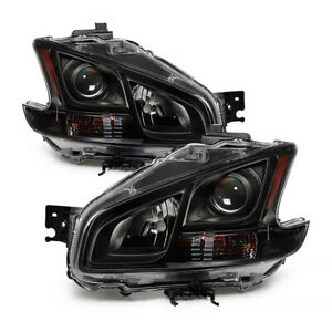 For 09 13 Nissan Maxima Black Crystal Clear Projector Headlight Lamp Left Right