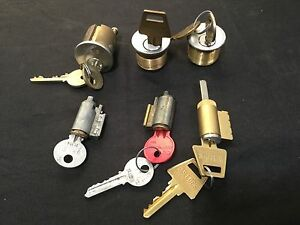 Locksmith Yale Cylinder Assortment W Keys Rim Mortised Kik Set Of 6
