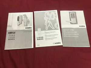 Kaba Simplex Manuals Set Of 3 Locksmith